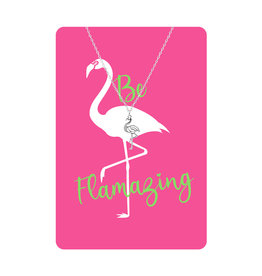 TLC Silver Flamingo Necklace Card