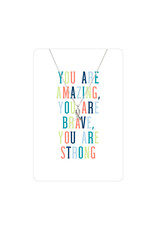 TLC Silver Support Ribbon Color Me Happy Necklace Card