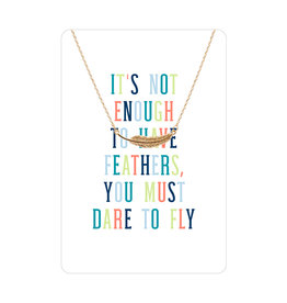 TLC Gold Feather Color Me Happy Necklace Card