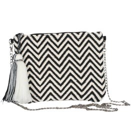 TLC Black and White Handmade Clutch Shoulder Purse