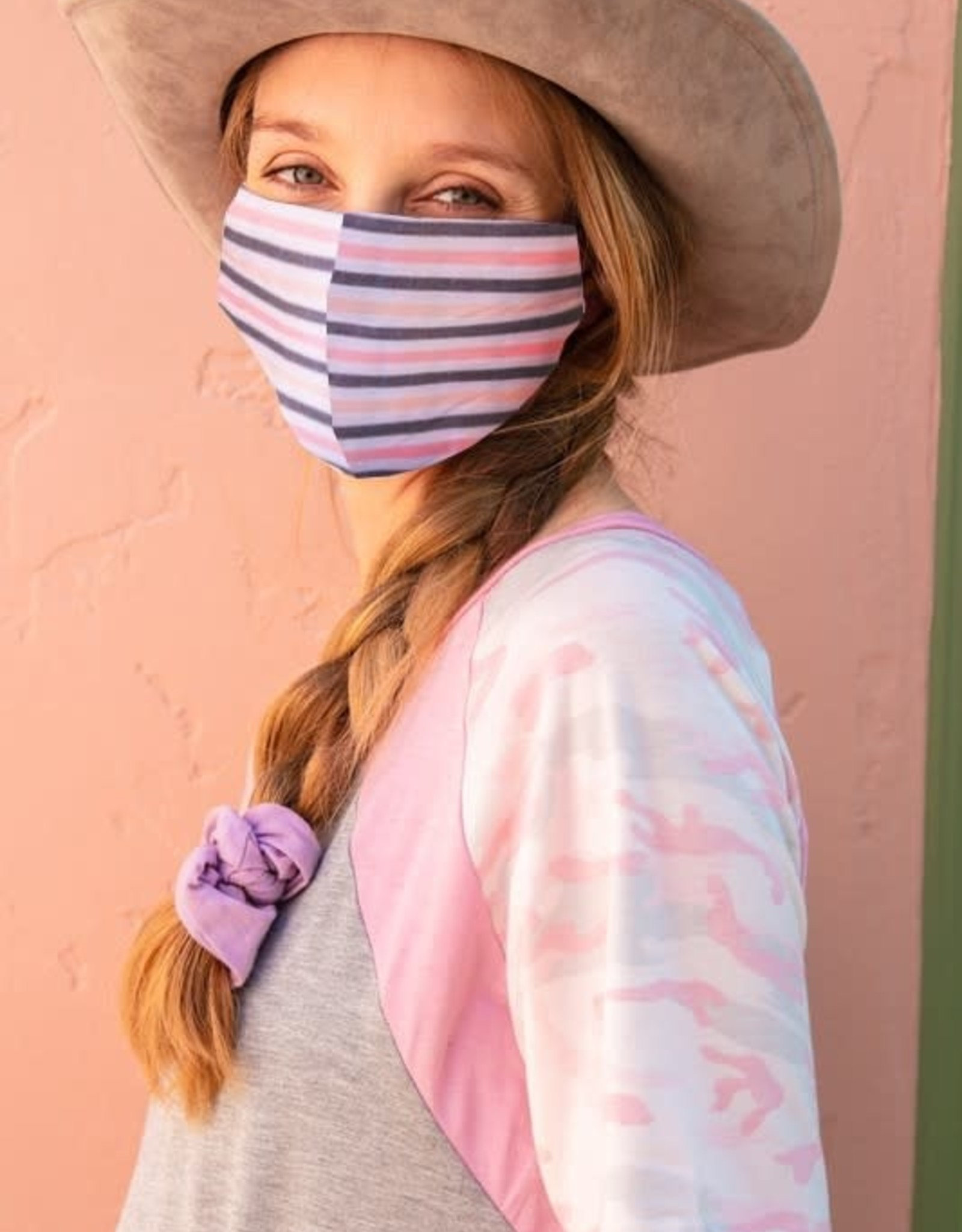 TLC pink/chambray Stripe Reusable Face Mask with Filter Slot Includes 1 Filter