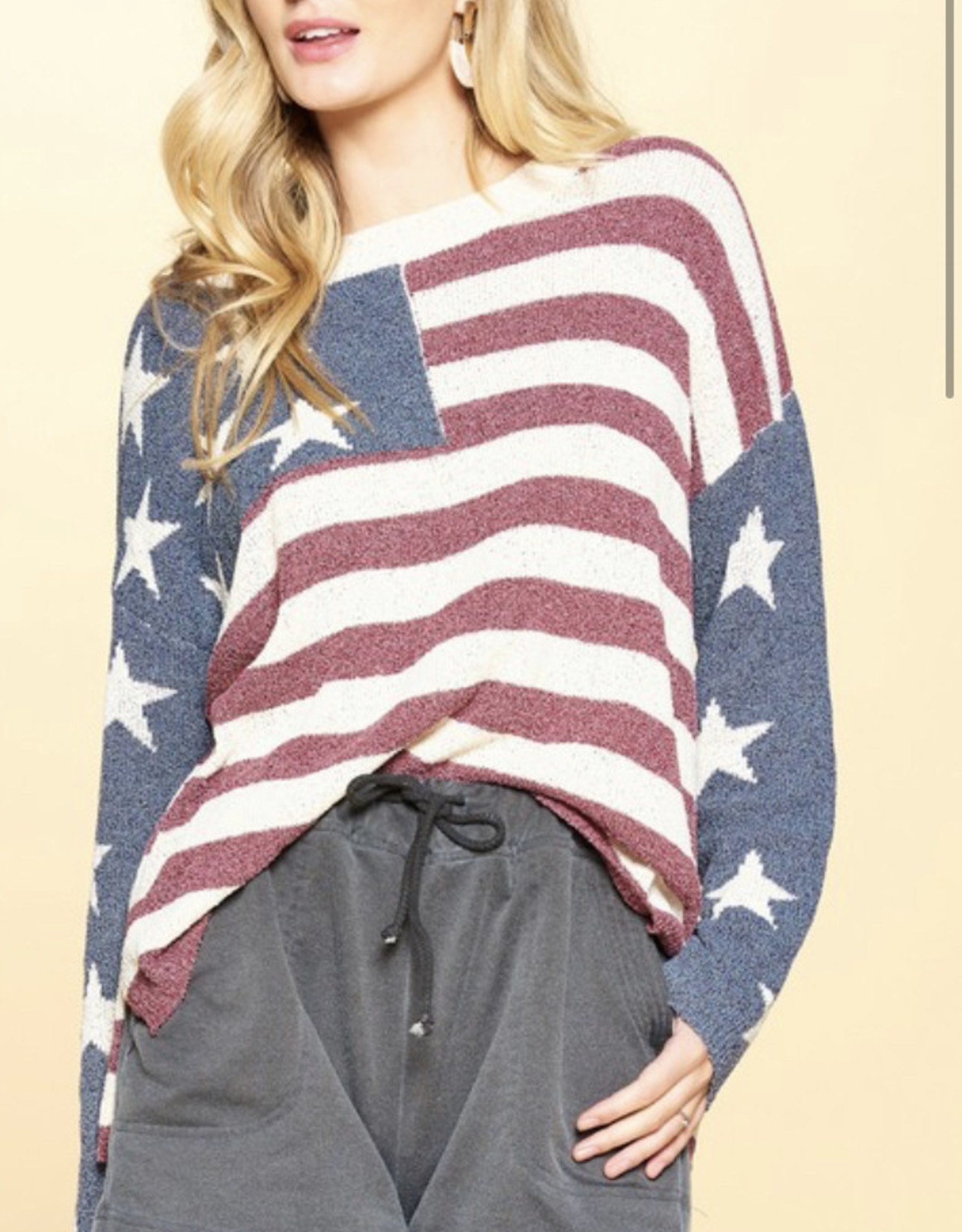 TLC Stars & Stripes crew neck sweater