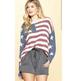 TLC Stars & Stripes crew neck sweater