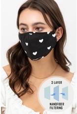 black/white heart printed face mask
