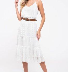 TLC Tiered Pom-Pom Dot Midi-Dress