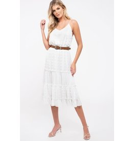 TLC Tiered Pom-Pom Dot Midi-Dress