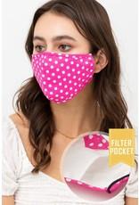 TLC face mask pink/white polka dots with filter pocket