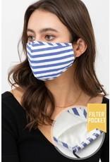 TLC face mask denim/white stripes with filter pocket
