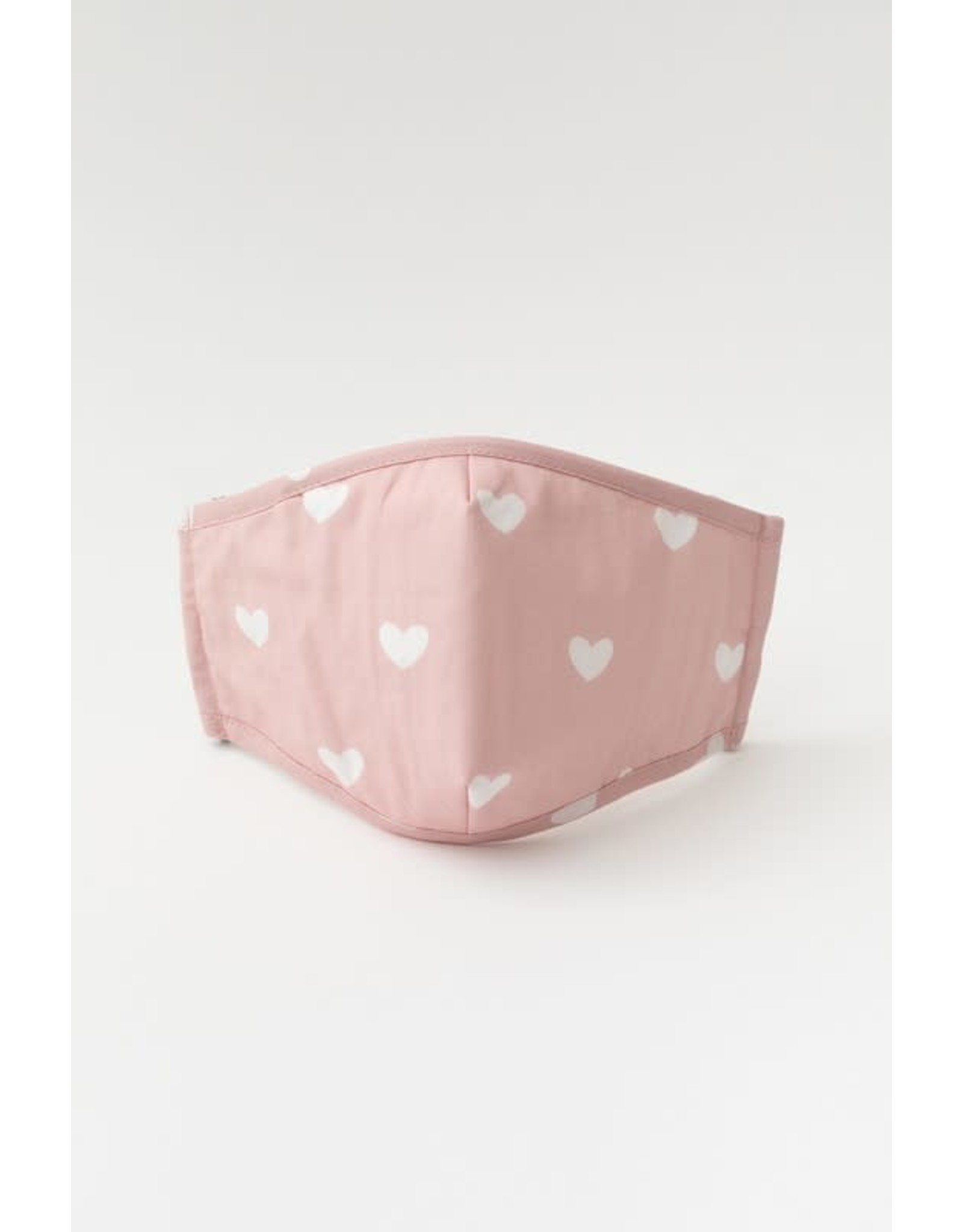 pink/white heart printed face mask
