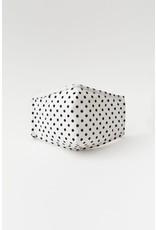 TLC face mask white/blk polka dots with filter pocket