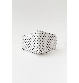 TLC face mask white/blk polka dots with filter pocket