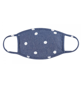 TLC blue polka dot cotton face mask