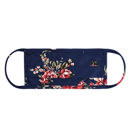 TLC kids navy floral pleated cotton face mask