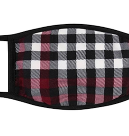 TLC kids red/blk plaid cotton face mask
