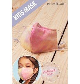 TLC kids tie dye pink/yellow face mask