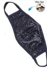 TLC face mask black sequins with filter pocket