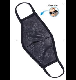 TLC face mask black snakeskin with filter pocket