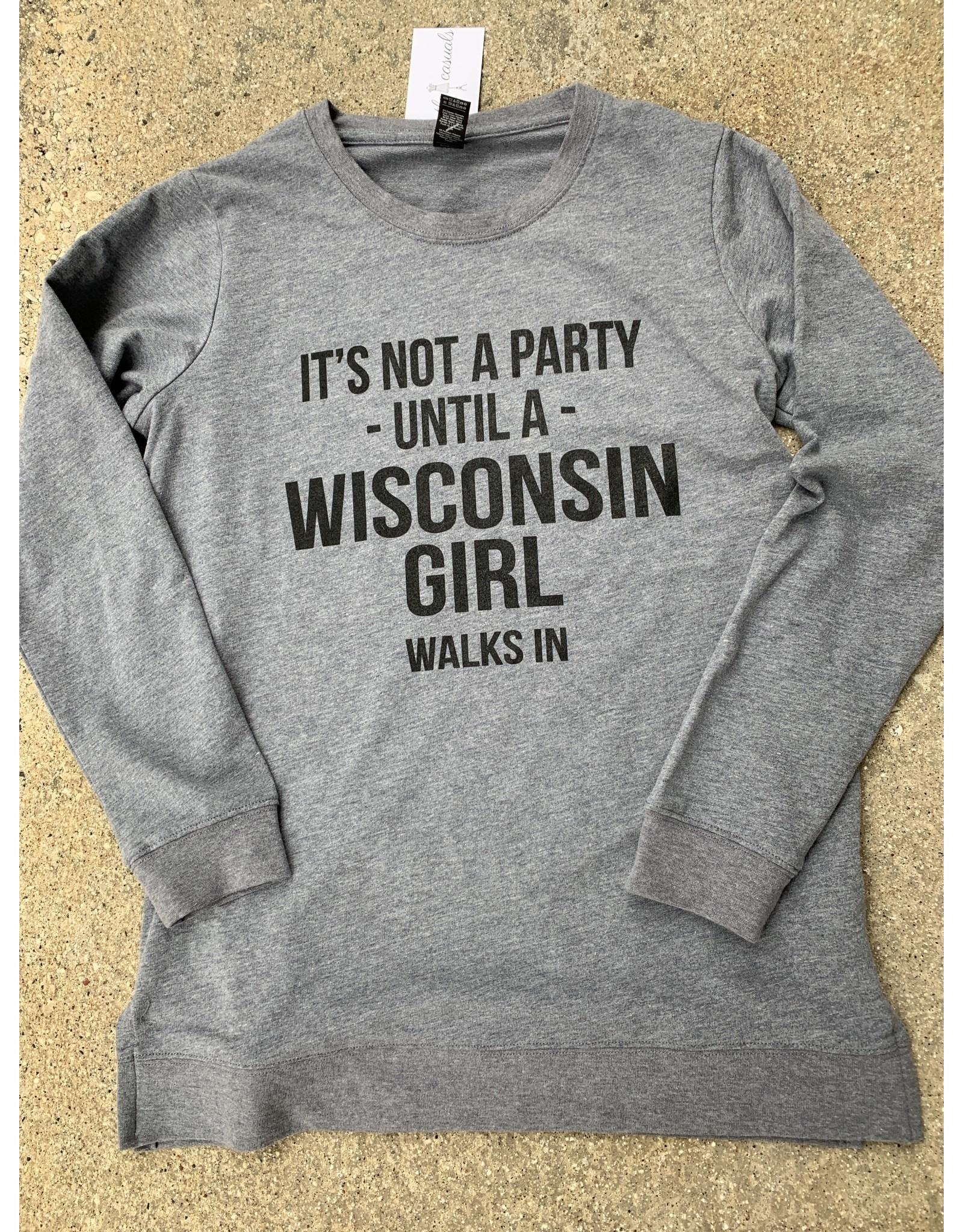 Wisconsin Party Girl Crew Neck Sweatshirt
