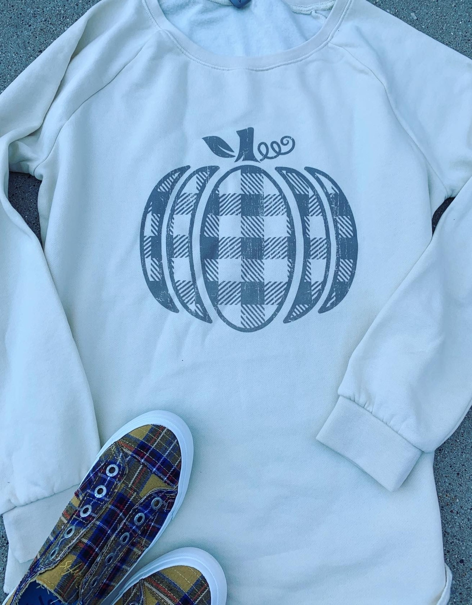 Plaid Pumpkin Crew Neck Sweatshirt