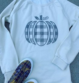 Plaid Pumpkin Crew Neck Sweatshirt