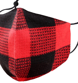 TLC adjustable red buffalo  plaid Face Mask