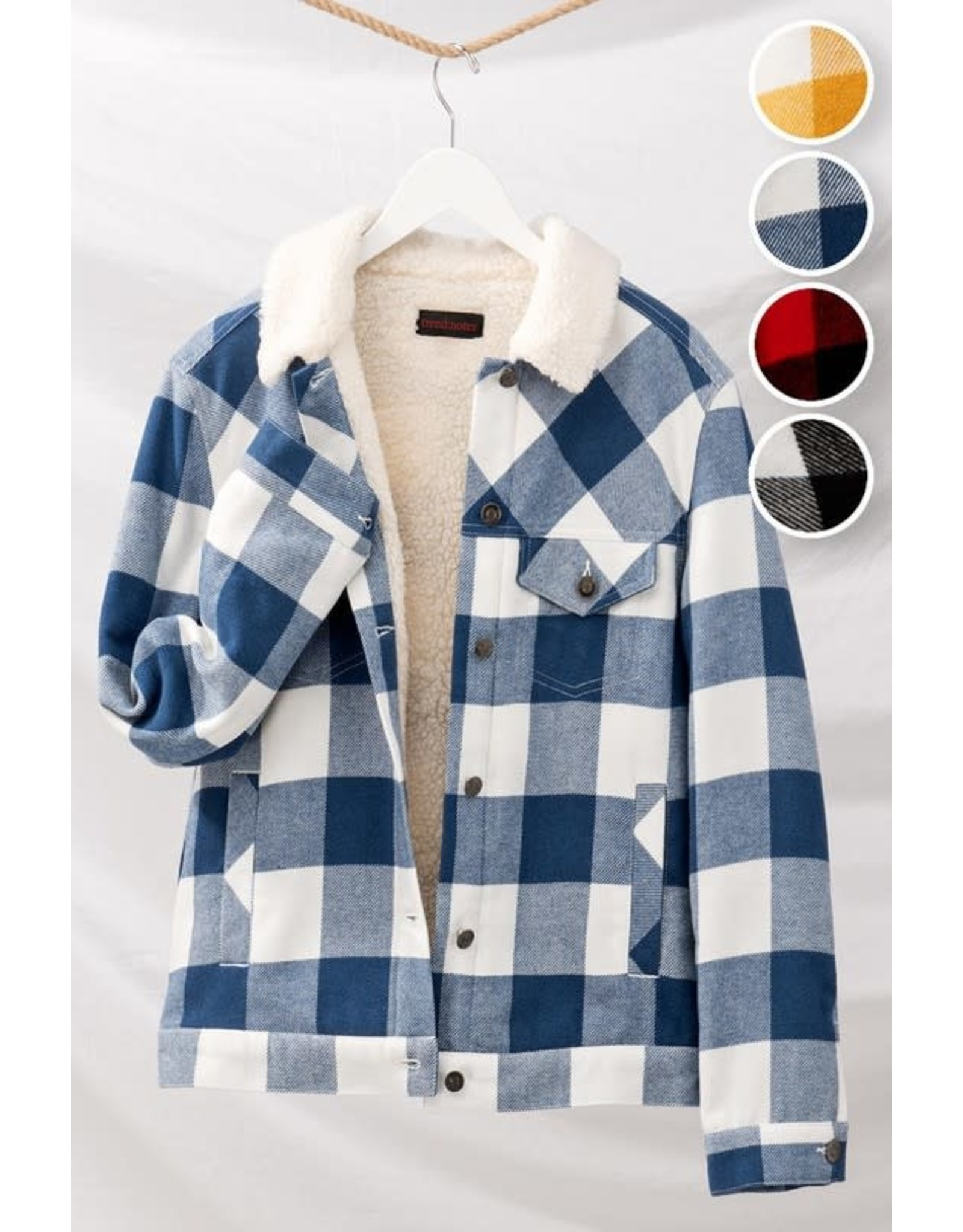 TLC Checkered Fleece Button Jacket