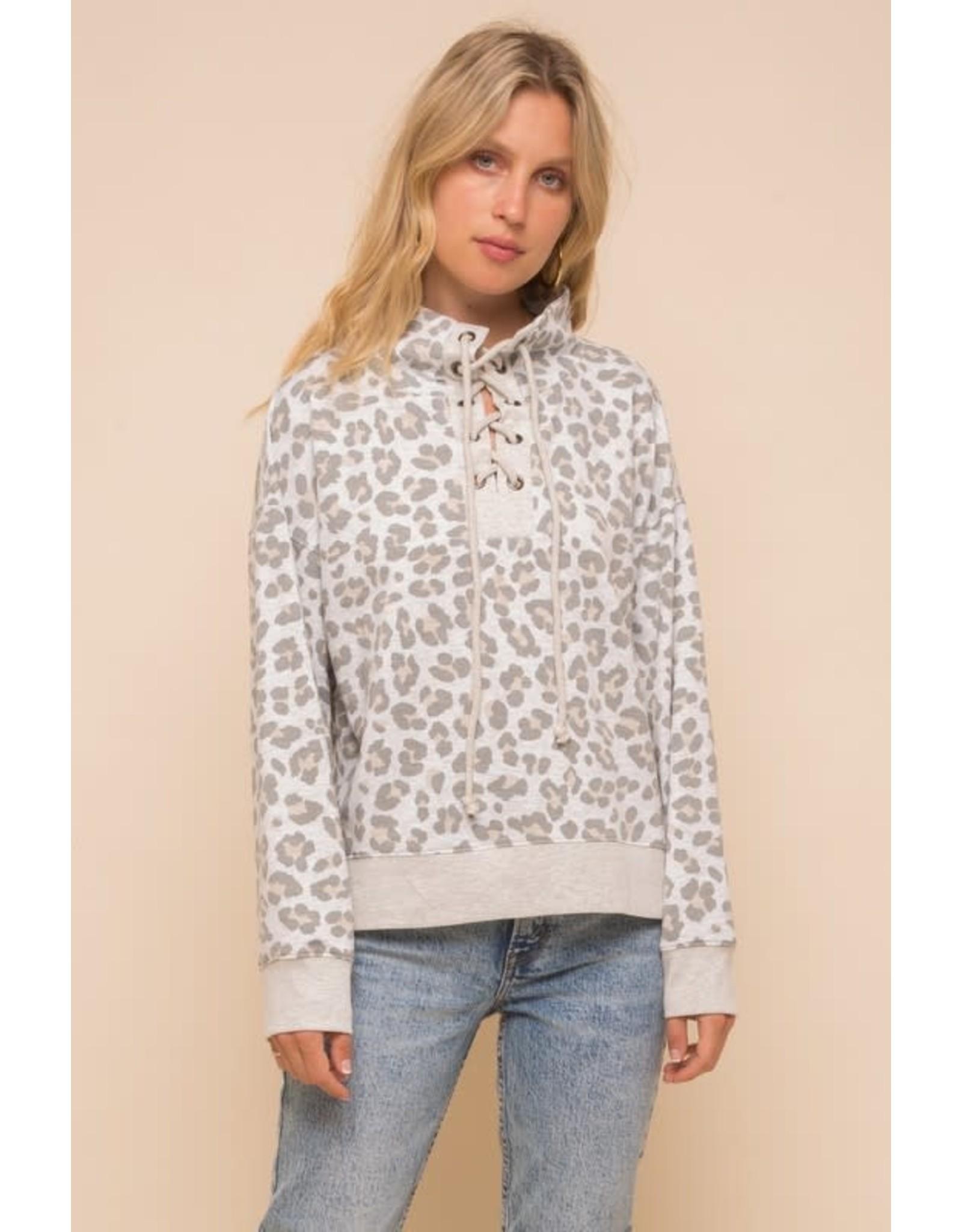 TLC Leopard Lace Up Hoodie