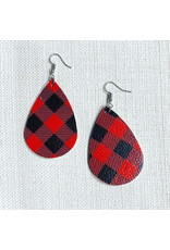 TLC Buffalo Plaid Faux Leather Earrings