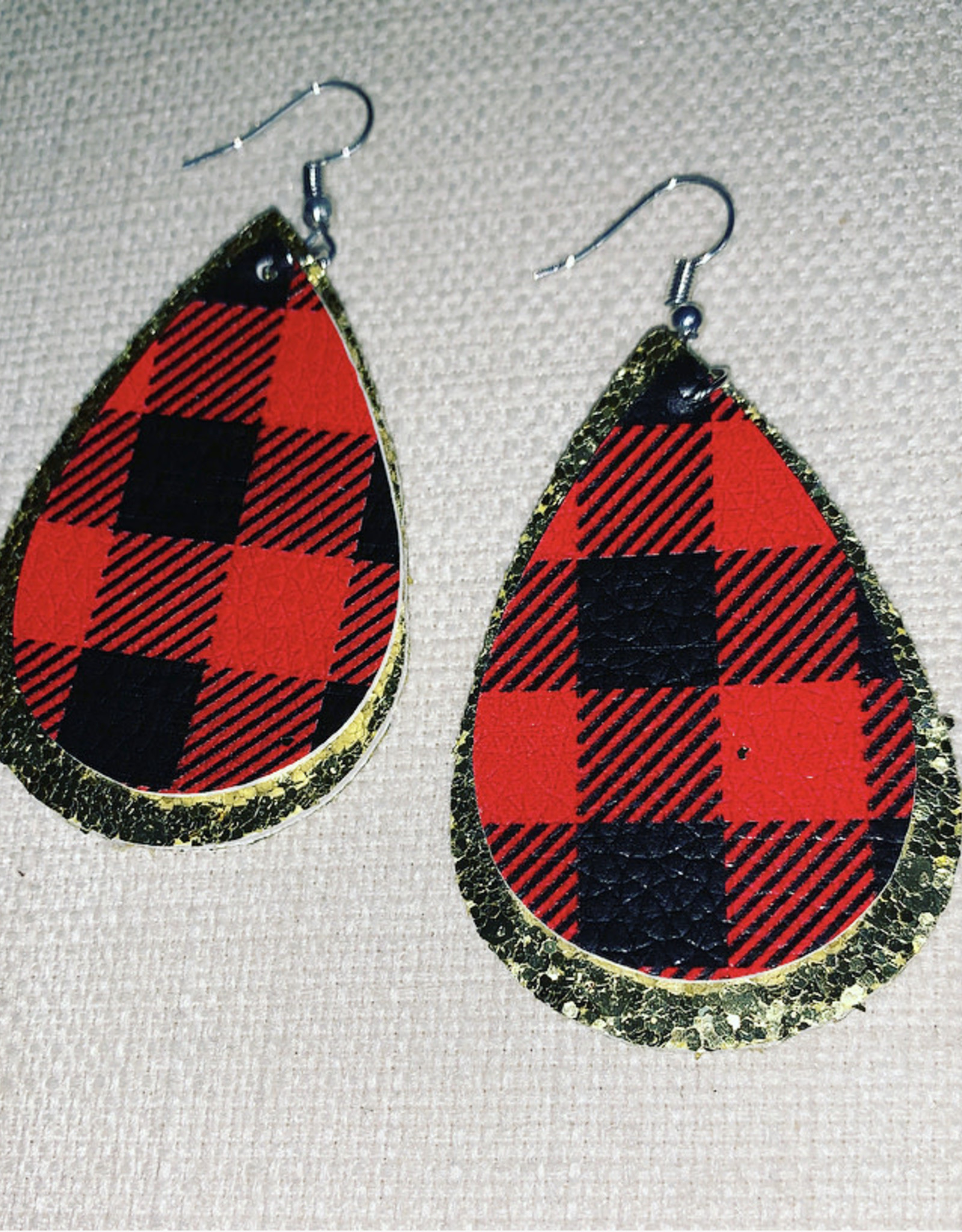 TLC Buffalo Plaid Faux Leather Earrings