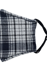 TLC Adjustable Gray Plaid Face Mask