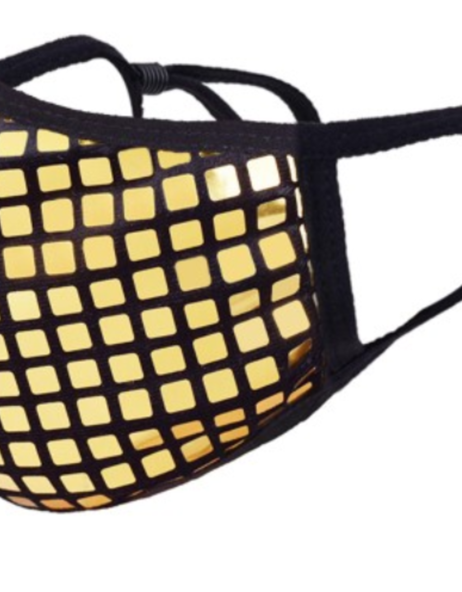 TLC Gold Disco Ball Face Mask with Adjustable Strap