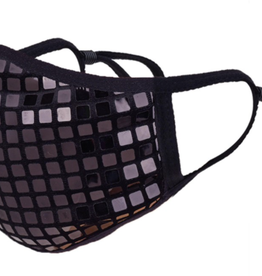 TLC Black Disco Ball Face Mask with Adjustable Strap