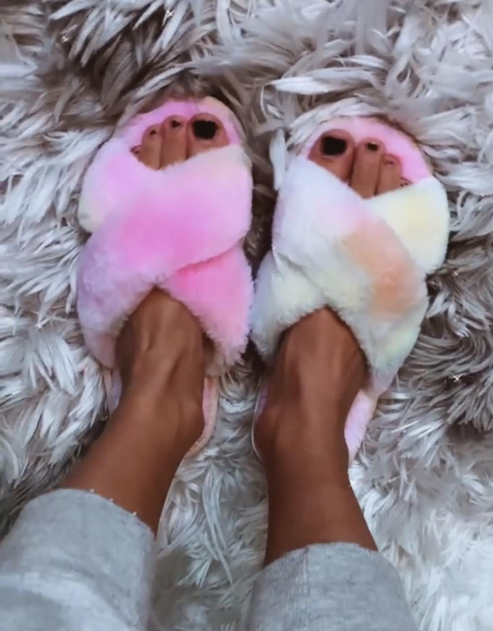 TLC Tie dye Fur slippers