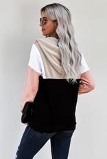 TLC  colorblock half zip pullover