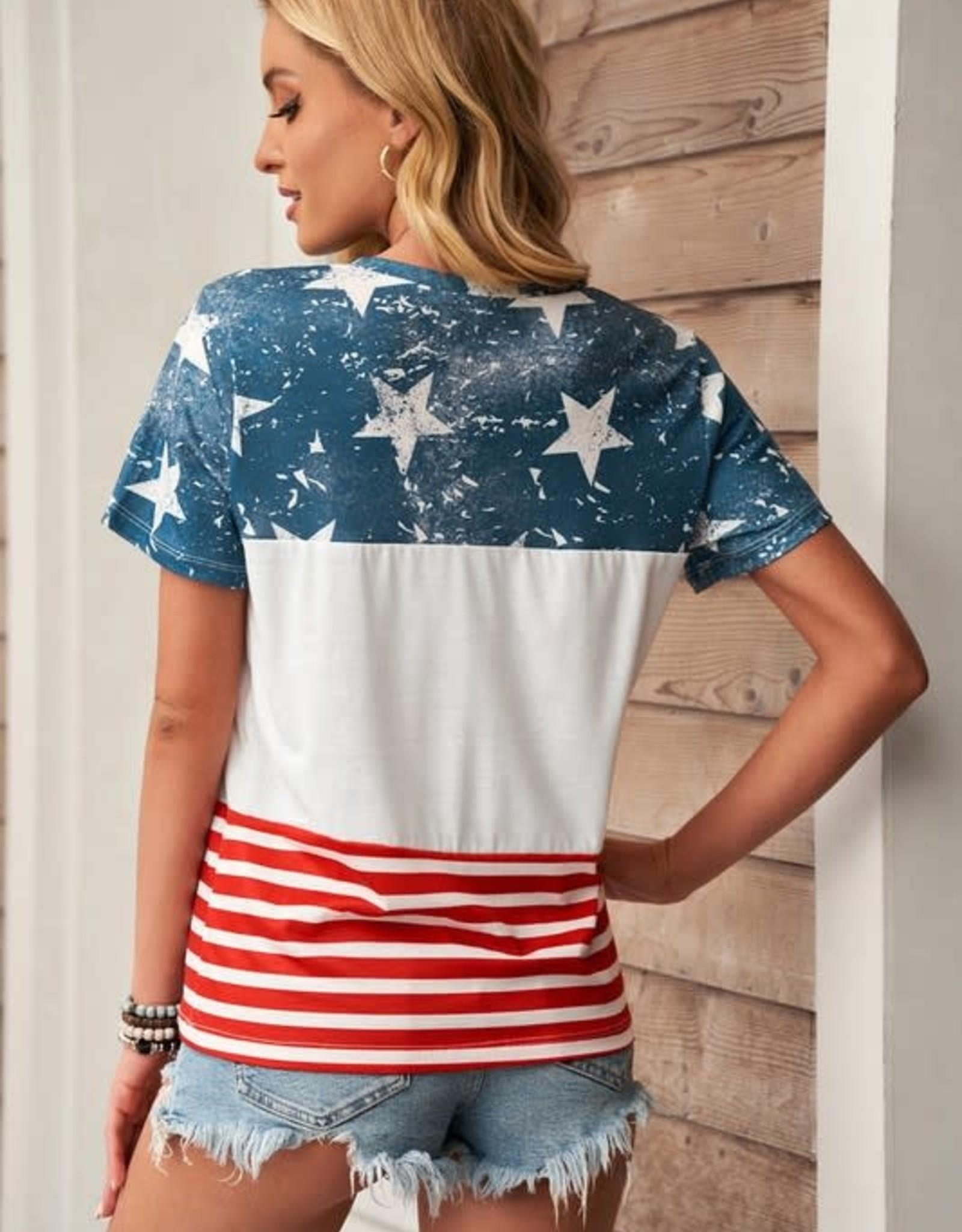 TLC  colorblock red/white/blue tshirt