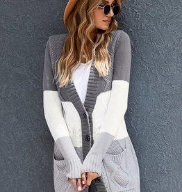 TLC Colorblock cableknit sweater