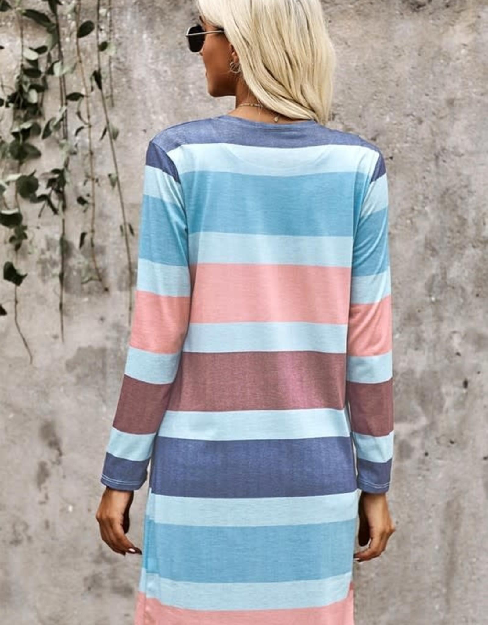 TLC Pastel stripe open cardigan