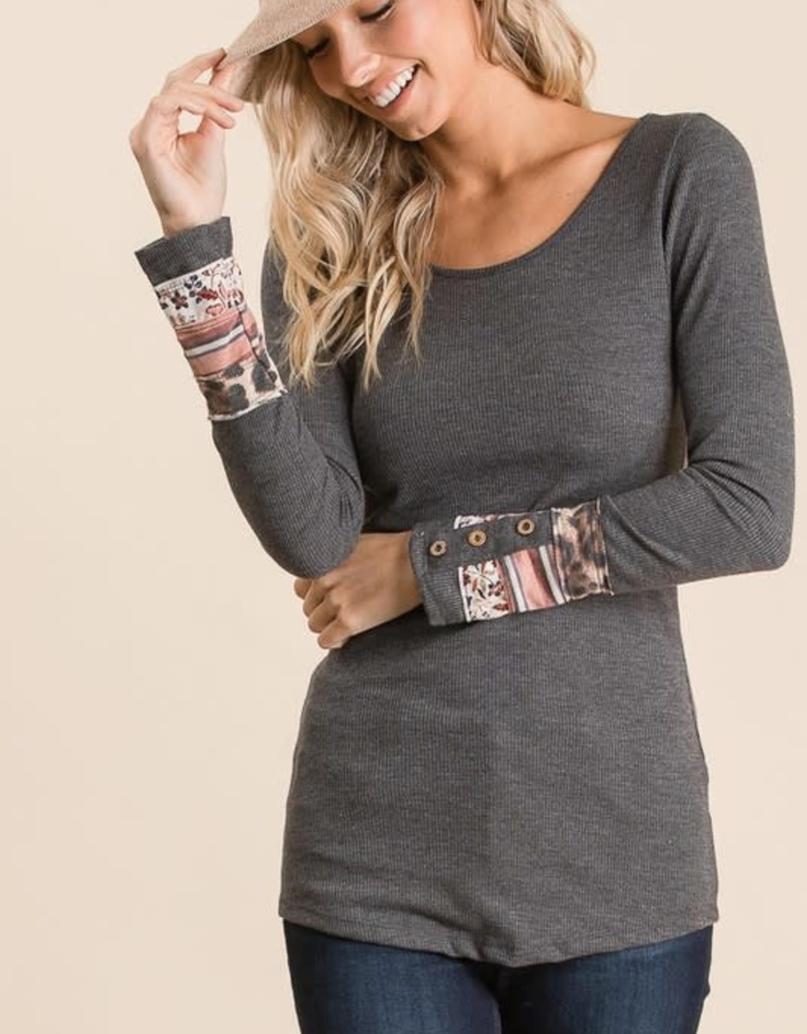 TLC 8023 long sleeve tshirt with cuff detail