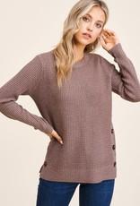 TLC 53211 button detail waffle knit sweater