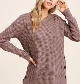 TLC button detail waffle knit sweater