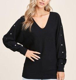 TLC button sleeve dolman sweater