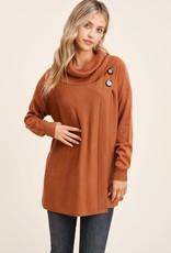 TLC 53128 button detail cowl sweater