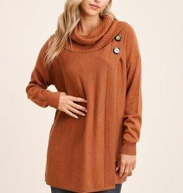TLC button detail cowl sweater