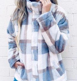 TLC Faux fur cozy plaid jacket