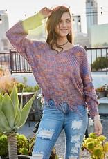 TLC ll20073 frayed vneck sweater