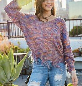 TLC Frayed vneck sweater