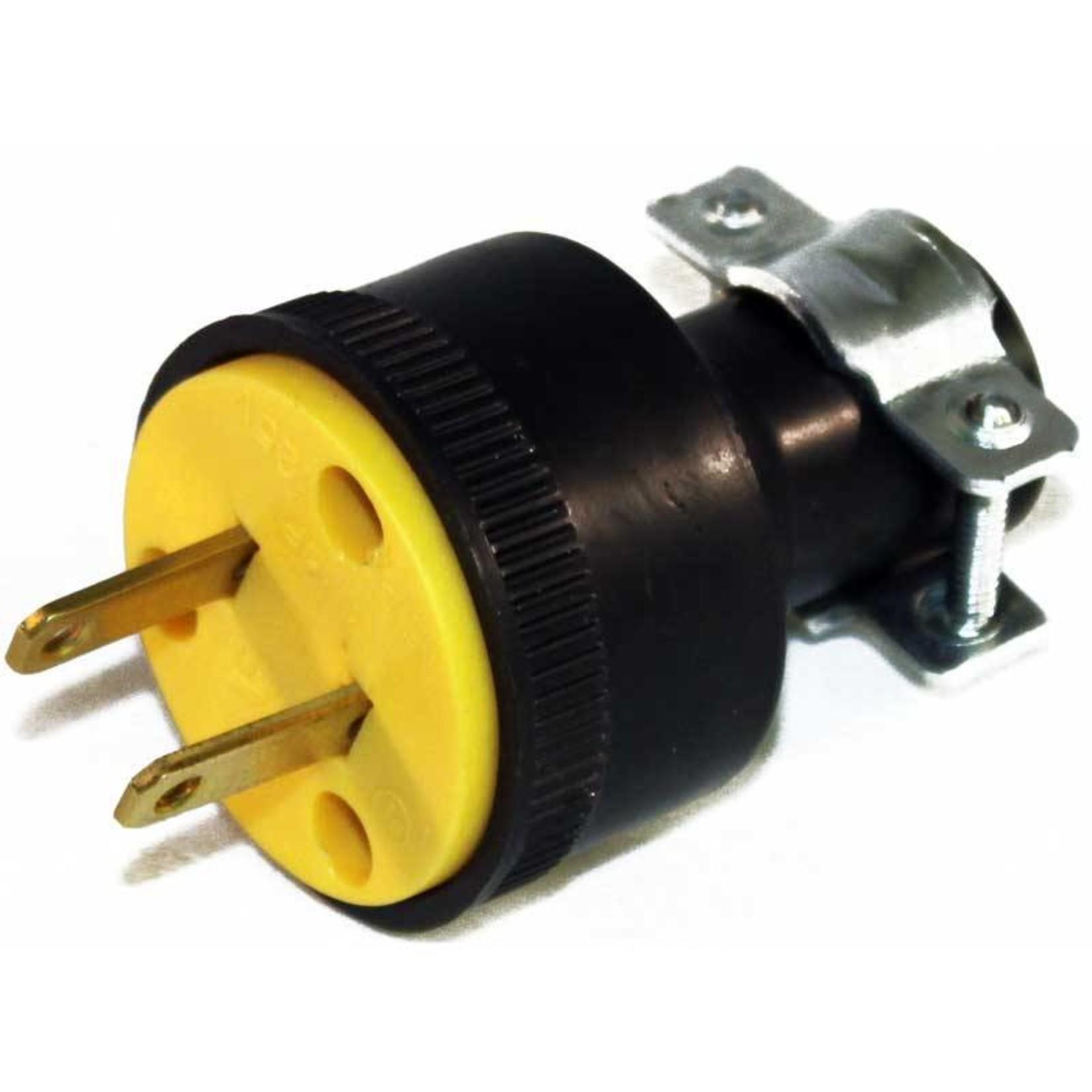 Generic 2 Wire Round Male Plug w/ Clamp - Rubber