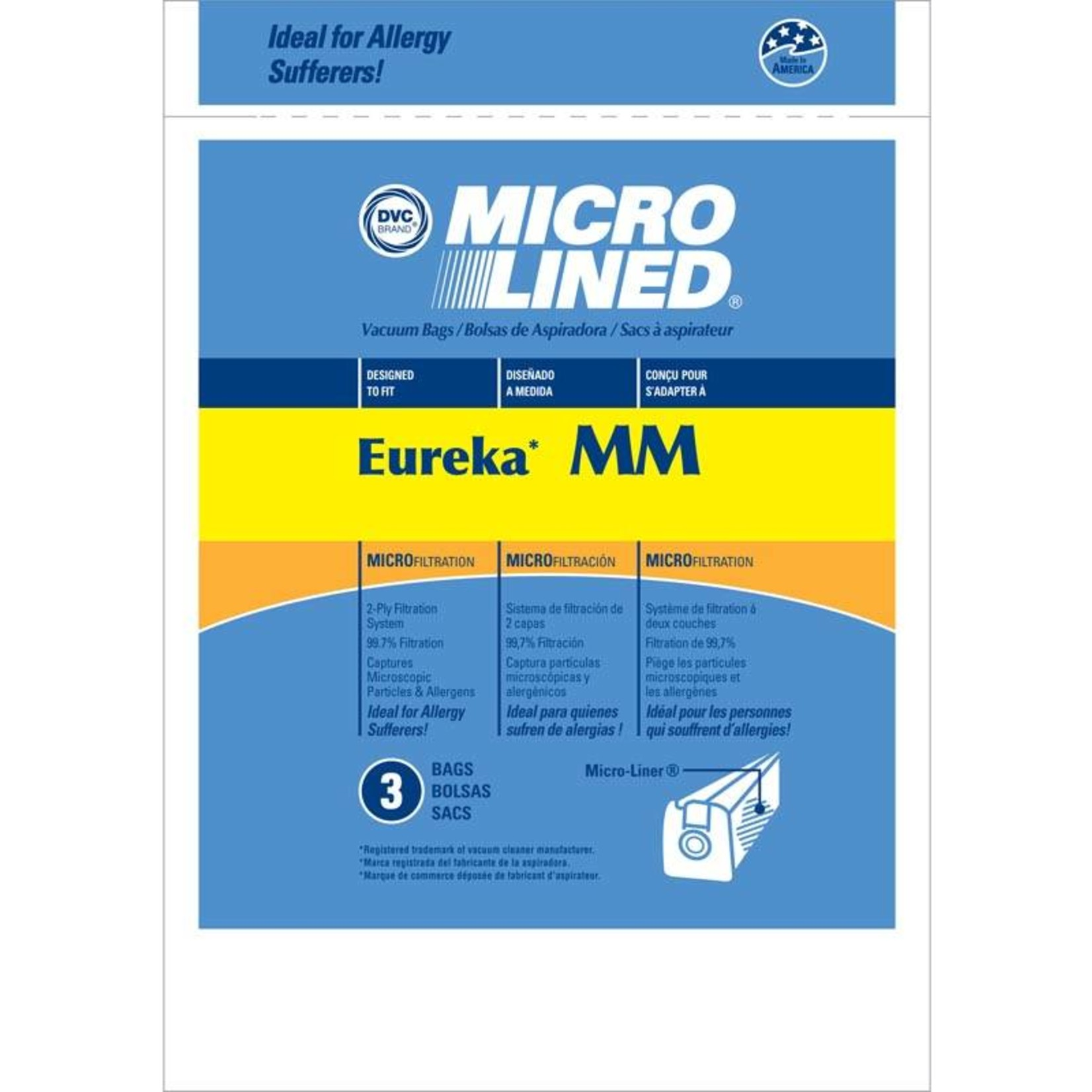 """Electrolux DVC Eureka Style """"MM"""" Bag (3pk)"""