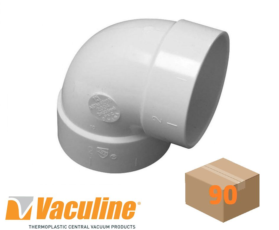 Vaculine Central Vacuum Sharp 90 Elbow Fitting - Box of 90
