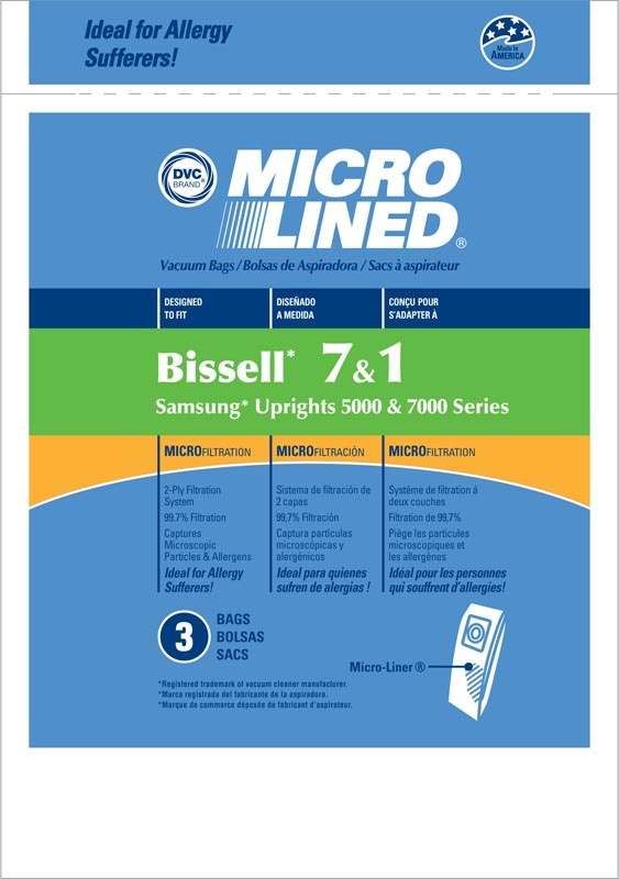 """Bissell DVC Bissell Style """"7 & 1"""" Bag (3pk)"""